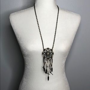 Jewelry - Dream Catcher Long Necklace Beaded Gold White